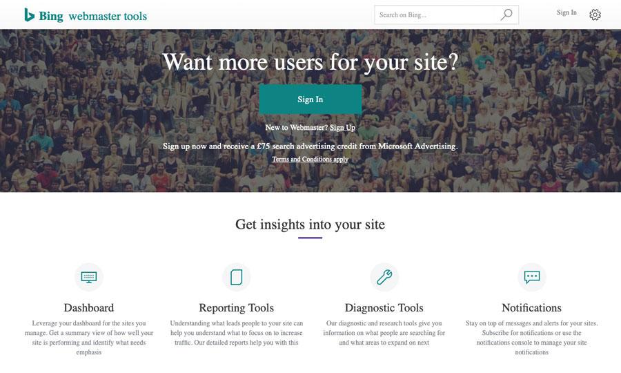 A screenshot of the Bing Webmaster Tools