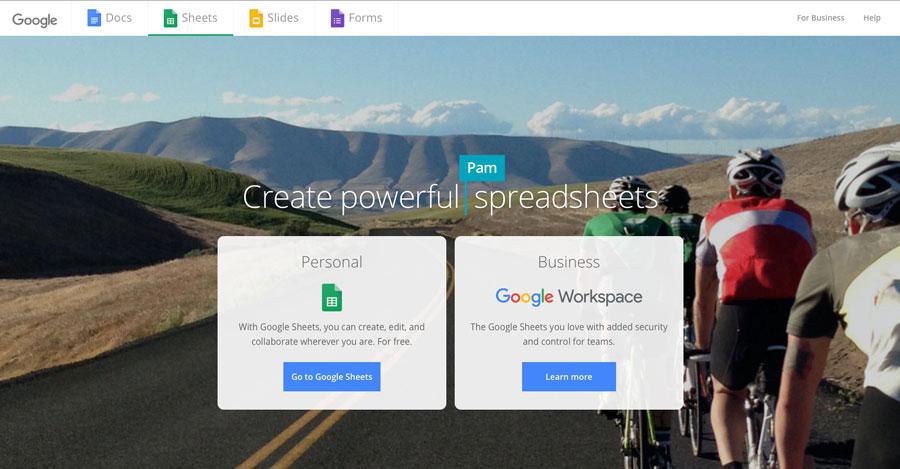A screenshot of the Google Sheets homepage