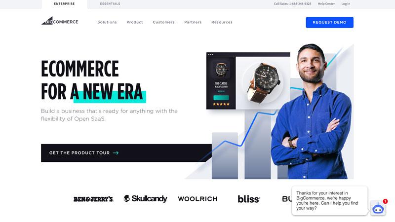 A screenshot of the BigCommerce homepage